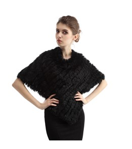 Rabbit Fur Knitted Poncho