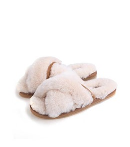 Cross Belt Fur Slipper